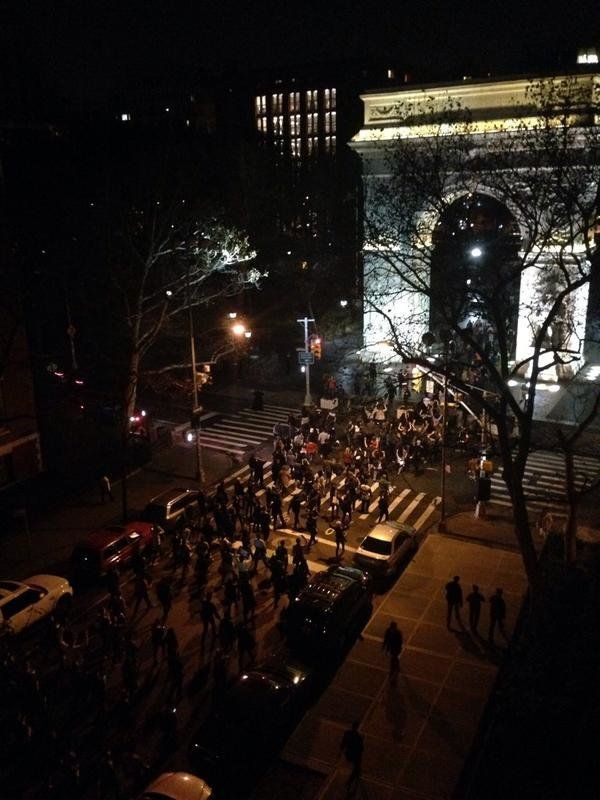 In this photo from Twitter user MegMPress, people protest in New York City on Mon. Nov, 24, 2014.