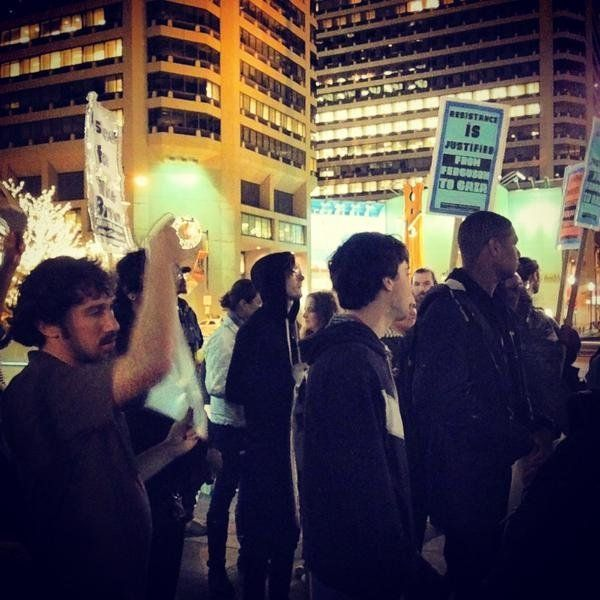 In this photo from Twitter user feverfewmusic, people protest in Philadelphia on Mon. Nov, 24, 2014.