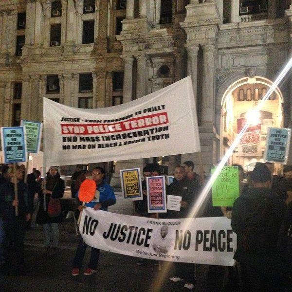 In this photo from Instagram user radoza, people protest in Philadelphia on Mon. Nov, 24, 2014.