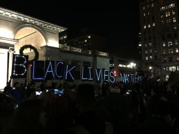 In this photo from Twitter user AskiaDaGreat, people protest in New York City on Mon. Nov, 24, 2014.