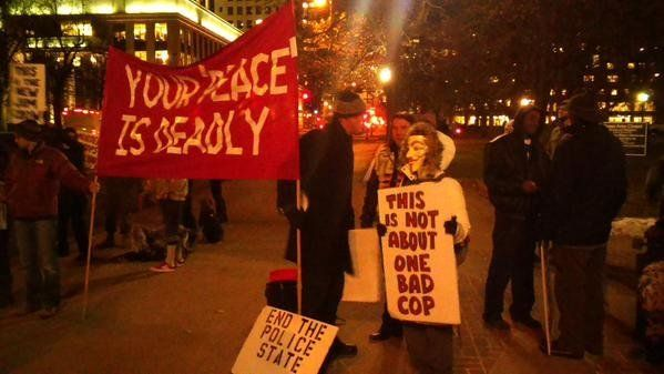 In this photo from Twitter user norsecodedusty, people protest in Denver on Mon. Nov, 24, 2014.