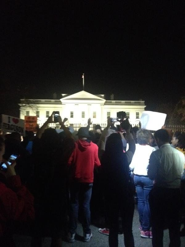 In this photo from Twitter user KatieACausey, people protest in Washington D.C. on Mon. Nov, 24, 2014.