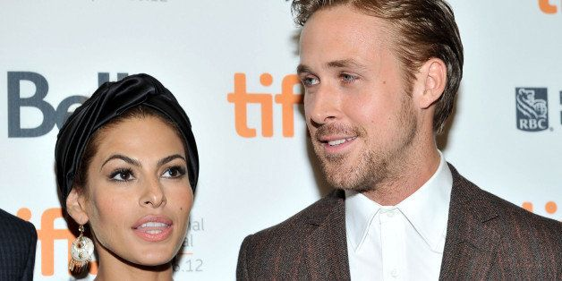 TORONTO, ON - SEPTEMBER 07: Actors (L-R) Eva Mendes and Ryan Gosling attend 'The Place Beyond The Pines' premiere during the
