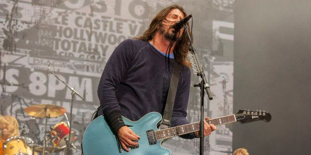 Taylor Hawkins, Dave Grohl and Nate Mendel of the Foo Fighters perform at the Voodoo Music Experience on Sunday, Nov. 2, 2014