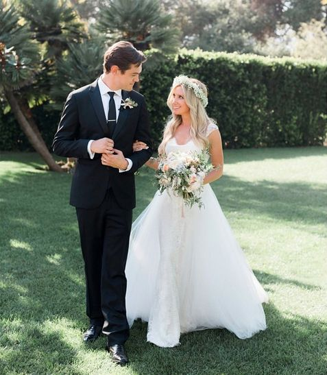 """The former """"High School Musical"""" star and her musician fiancé French wed on Sept. 8, 2014."""