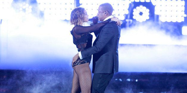 LOS ANGELES - JANUARY 26: Beyonce & Jay-Z perform during THE 56TH ANNUAL GRAMMY AWARDS music industry's premier event takes p