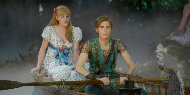 PETER PAN LIVE! -- Dress Rehearsal -- Pictured: (l-r) Taylor Louderman as Wendy Darling, Allison Williams as Peter Pan -- (Ph