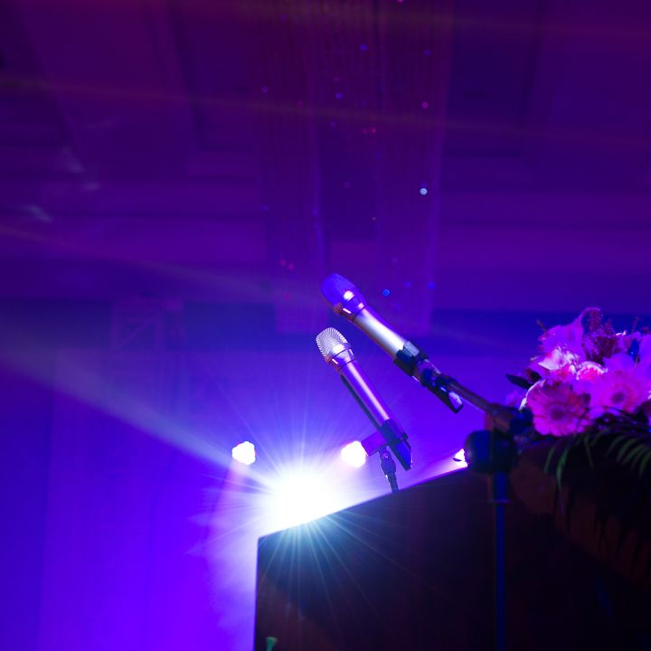 close up of microphone on stage.