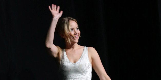 "EXCLUSIVE - Jennifer Lawrence seen on stage at the Los Angeles Premiere of Lionsgate's ""The Hunger Games: Mockingjay - Part 1"