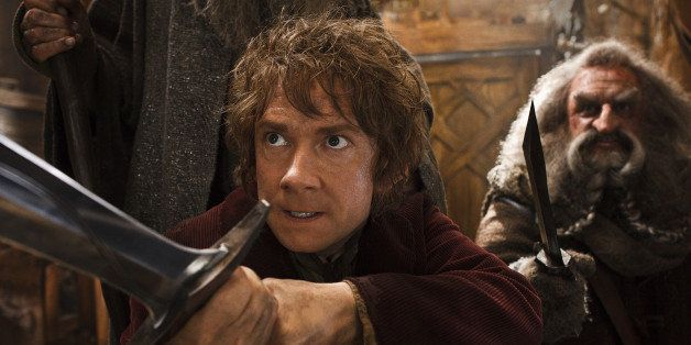 "This image released by Warner Bros. Pictures shows Martin Freeman, left, and John Callen in a scene from ""The Hobbit: The Des"