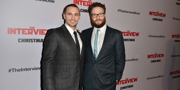 LOS ANGELES, CA - DECEMBER 11:  James Franco and Seth Rogen arrive at the Los Angeles premiere of 'The Interview' held at The