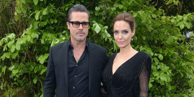 American Actor Brad Pitt and wife American Actress Angelina Jolie seen at Kensington Palace  on Thursday 8 May,2014 in London