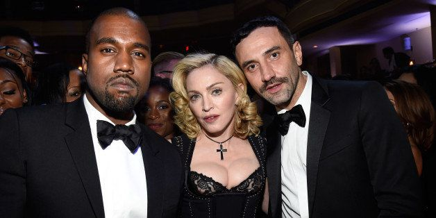 NEW YORK, NY - OCTOBER 30:  (Exclusive Coverage) Kanye West, Madonna and Riccardo Tisci attend Keep A Child Alive's 11th Annu