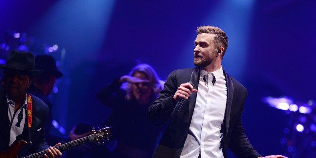 NEW YORK, NY - DECEMBER 14:  Justin Timberlake performs on stage at Barclays Center on December 14, 2014 in the Brooklyn boro