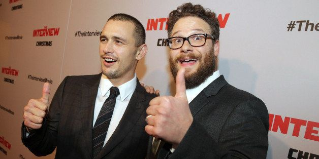 """James Franco and Director/Producer/Screenwriter Seth Rogen seen at Columbia Pictures World Premiere of """"The Interview"""" on Thu"""
