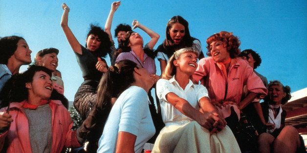 Olivia Newton-John, Didi Conn and the rest of the girls sing in a scene from the film 'Grease', 1978. (Photo by Paramount/Get