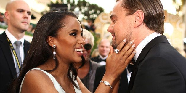 BEVERLY HILLS, CA - JANUARY 12:  71st ANNUAL GOLDEN GLOBE AWARDS -- Pictured: (l-r) Actors Kerry Washington and Leonardo DiCa