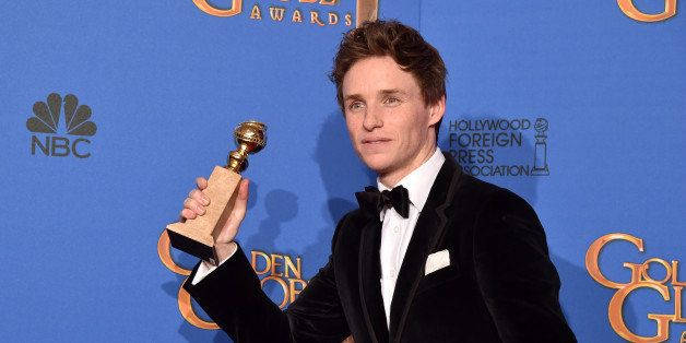 BEVERLY HILLS, CA - JANUARY 11:  Actor Eddie Redmayne, winner of Best Performance in a Motion Picture - Drama for 'The Theory
