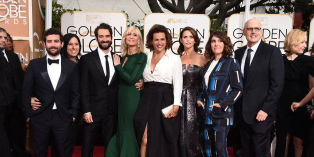 Joe Lewis, from left, Andrea Sperling, Jay Duplass, Judith Light, Alexandra Billings, Amy Landecker, Jill Soloway, and Jeffre