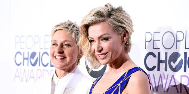 LOS ANGELES, CA - JANUARY 07:  TV personality Ellen DeGeneres (L) and actress Portia de Rossi attend The 41st Annual People's