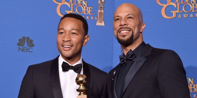 BEVERLY HILLS, CA - JANUARY 11:  Recording artists John Legend (L) and Common, winners of Best Original Song - Motion Picture