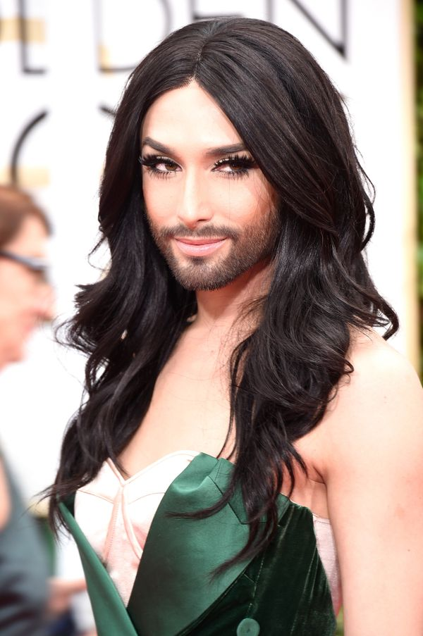 BEVERLY HILLS, CA - JANUARY 11:  Singer Conchita Wurst attends the 72nd Annual Golden Globe Awards at The Beverly Hilton Hote