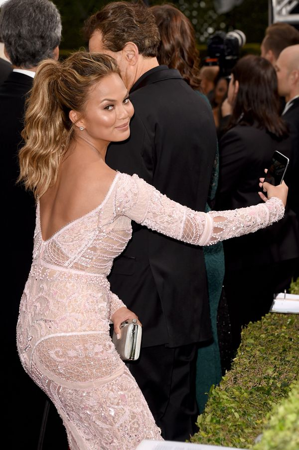 BEVERLY HILLS, CA - JANUARY 11: Model Chrissy Teigen attends the 72nd Annual Golden Globe Awards at The Beverly Hilton Hotel