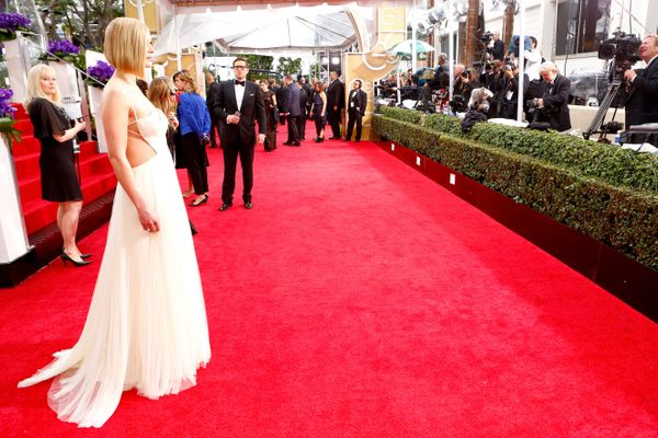 BEVERLY HILLS, CA - JANUARY 11:  72nd ANNUAL GOLDEN GLOBE AWARDS -- Pictured: Actress Rosamund Pike arrives to the 72nd Annua