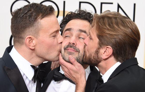 (L-R) Actor Johannes Bah Kuhnke, Producer Erik Hemmendorff and Director Ruben Ostlund of the nominated Swedish film 'Force Ma