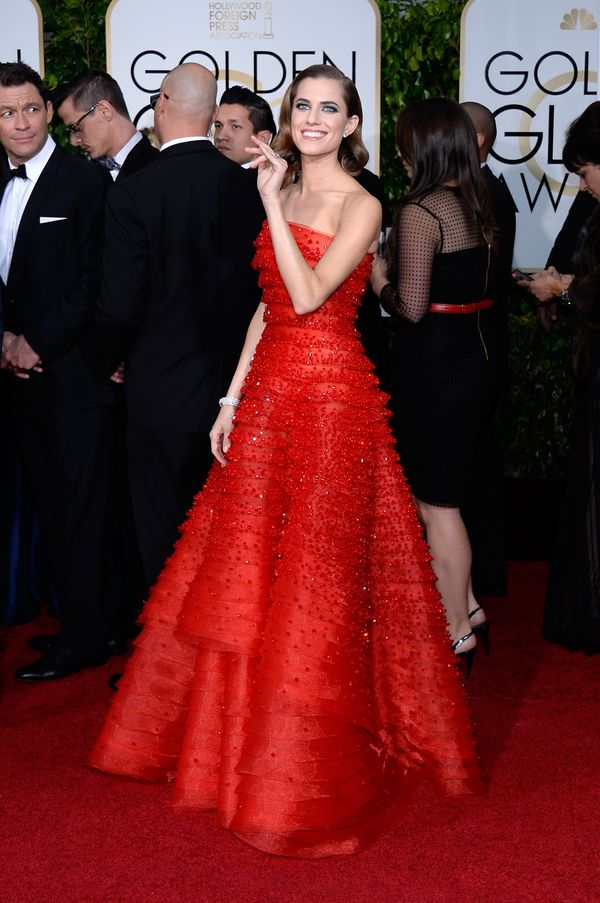BEVERLY HILLS, CA - JANUARY 11:  72nd ANNUAL GOLDEN GLOBE AWARDS -- Pictured: Actress Allison Williams arrives to the 72nd An
