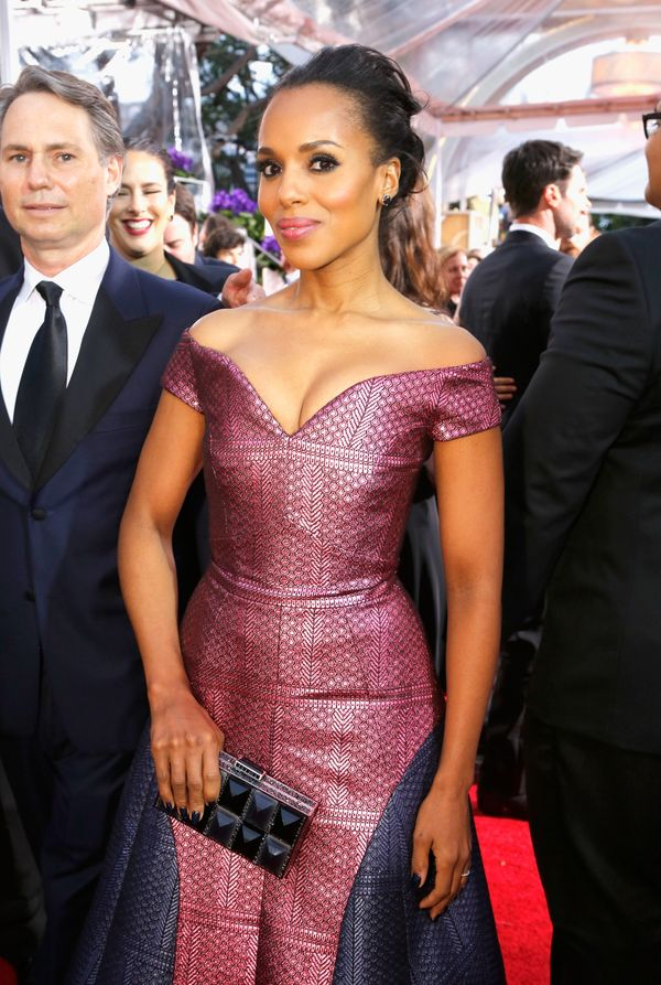 LOS ANGELES, CA - JANUARY 11: 72nd ANNUAL GOLDEN GLOBE AWARDS -- Pictured: Actress Kerry Washington arrives to the 72nd Annua