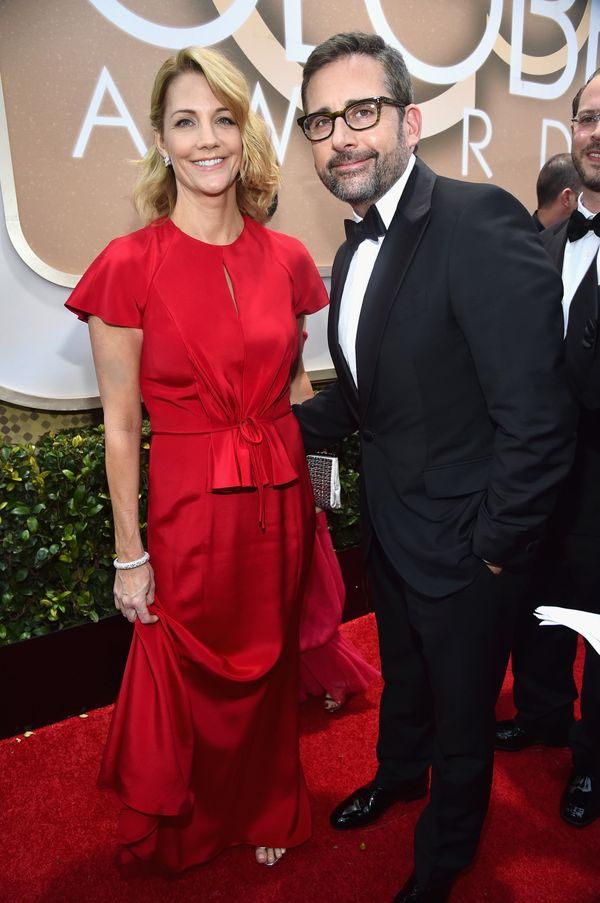LOS ANGELES, CA - JANUARY 11: 72nd ANNUAL GOLDEN GLOBE AWARDS -- Pictured: (l-r) Actors Nancy Carell and Steve Carell arrive