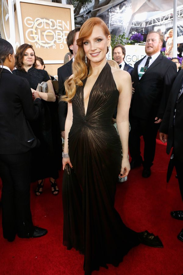 LOS ANGELES, CA - JANUARY 11: 72nd ANNUAL GOLDEN GLOBE AWARDS -- Pictured: Actress Jessica Chastain arrives to the 72nd Annua