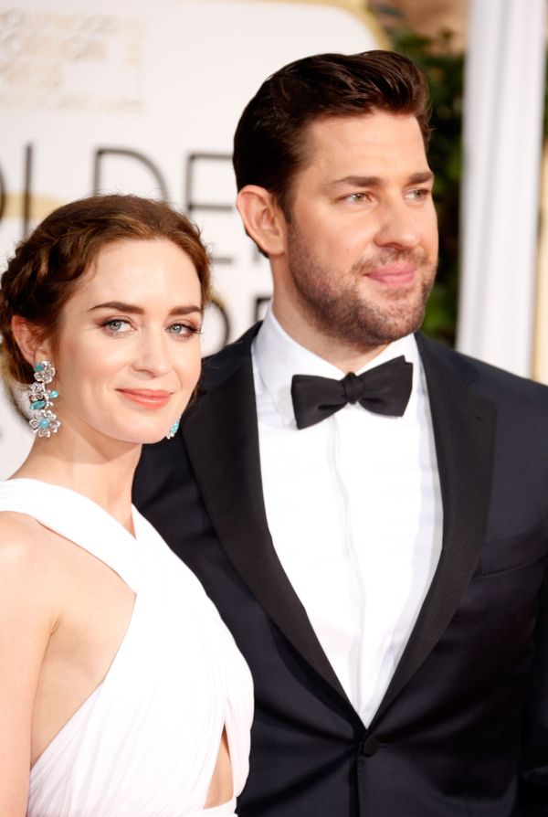 BEVERLY HILLS, CA - JANUARY 11:  Actress Emily Blunt (L) and actor John Krasinski attend the 72nd Annual Golden Globe Awards