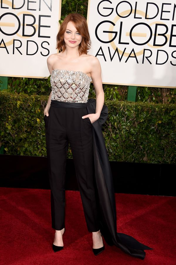 BEVERLY HILLS, CA - JANUARY 11: Actress Emma Stone attends the 72nd Annual Golden Globe Awards at The Beverly Hilton Hotel on