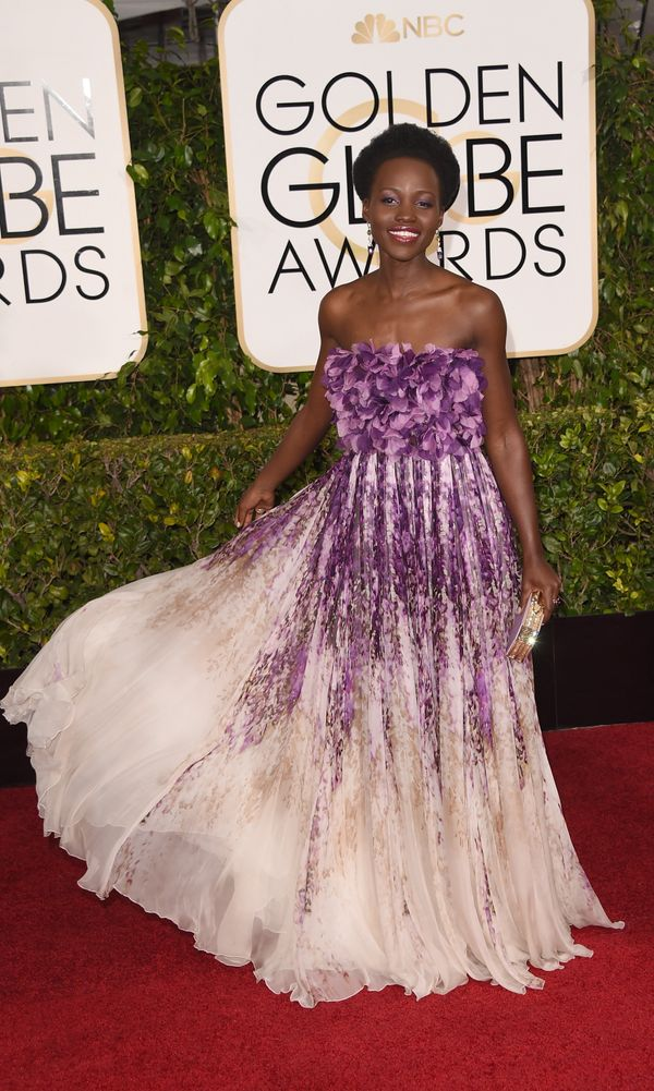 BEVERLY HILLS, CA - JANUARY 11:  Actress Lupita Nyong'o attends the 72nd Annual Golden Globe Awards at The Beverly Hilton Hot