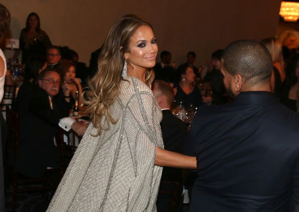 Jennifer Lopez walks in the audience at the 72nd annual Golden Globe Awards at the Beverly Hilton Hotel on Sunday, Jan. 11, 2