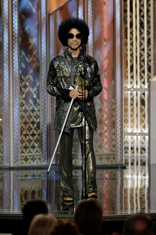 BEVERLY HILLS, CA - JANUARY 11:  In this handout photo provided by NBCUniversal, Presenter  Prince speaks onstage during the
