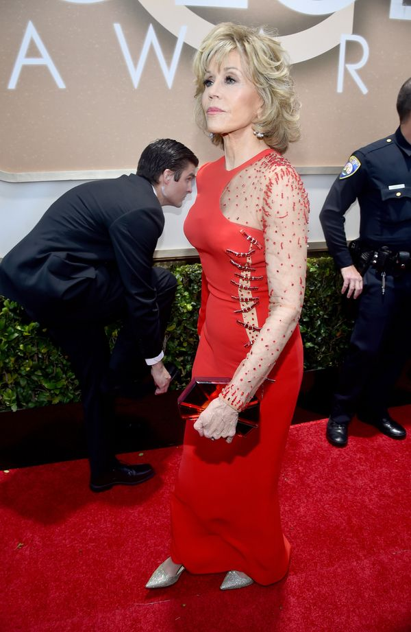 BEVERLY HILLS, CA - JANUARY 11:  72nd ANNUAL GOLDEN GLOBE AWARDS -- Pictured: Actress Jane Fonda arrives to the 72nd Annual G