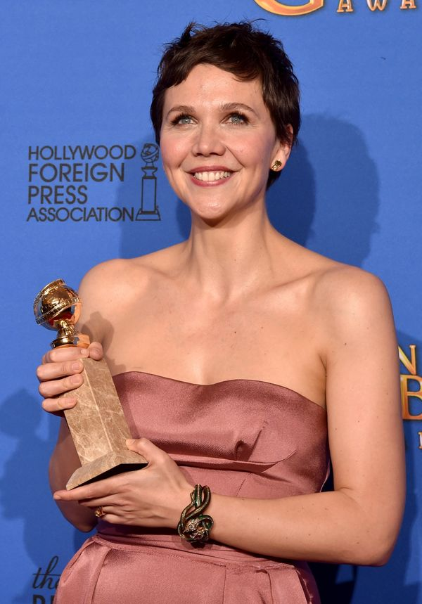 BEVERLY HILLS, CA - JANUARY 11:  Actress Maggie Gyllenhaal, winner of Best Actress in a Miniseries or Television Film for 'Th