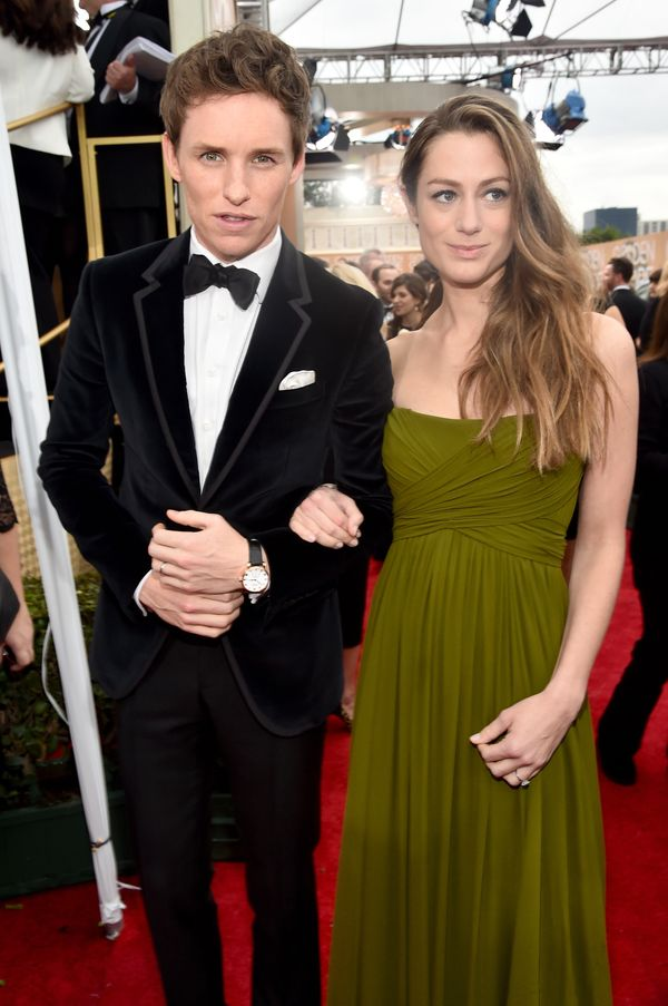 BEVERLY HILLS, CA - JANUARY 11:  72nd ANNUAL GOLDEN GLOBE AWARDS -- Pictured: (l-r) Actor Eddie Redmayne and Hannah Bagshawe