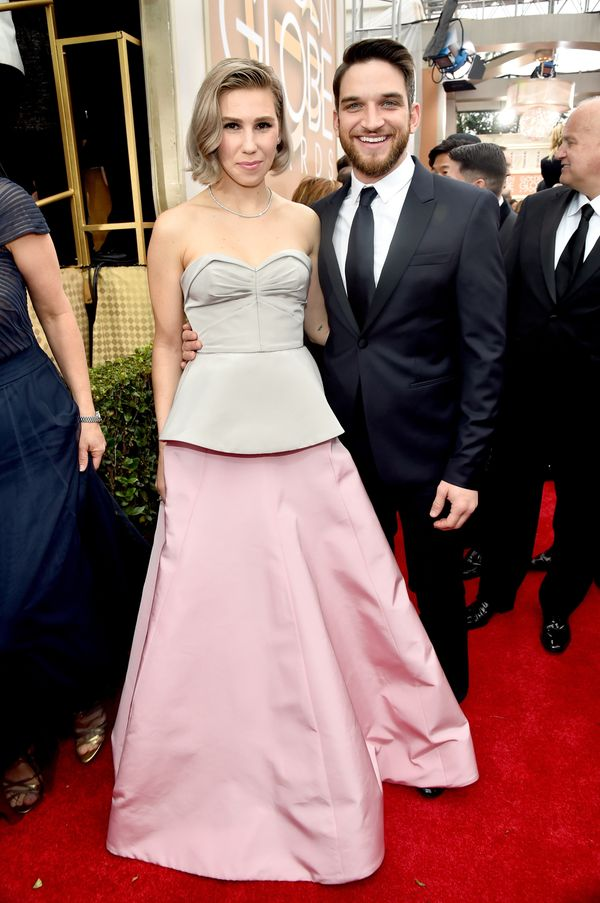 BEVERLY HILLS, CA - JANUARY 11:  72nd ANNUAL GOLDEN GLOBE AWARDS -- Pictured: (l-r) Actors Zosia Mamet and Evan Jonigkeit arr