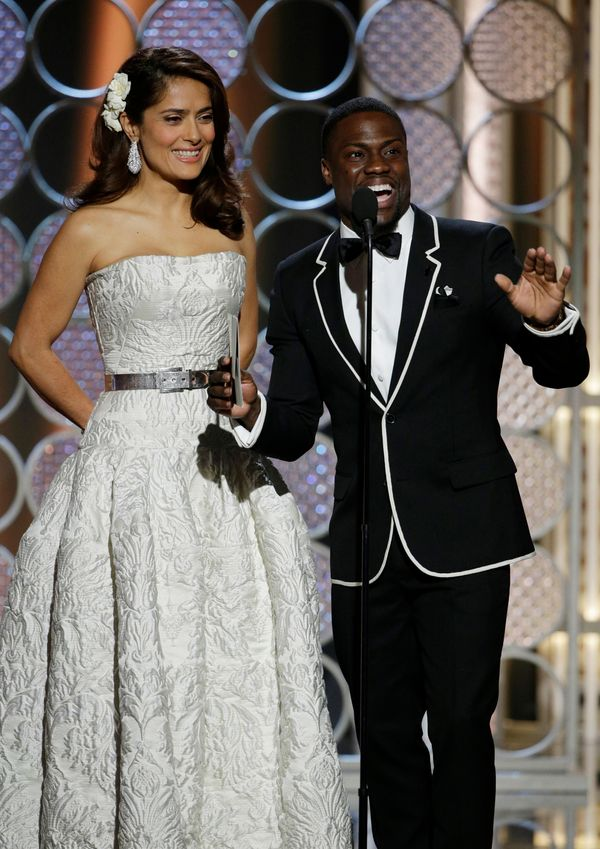 BEVERLY HILLS, CA - JANUARY 11:  In this handout photo provided by NBCUniversal, Presenters Salma Hayek and Kevin Hart speaks