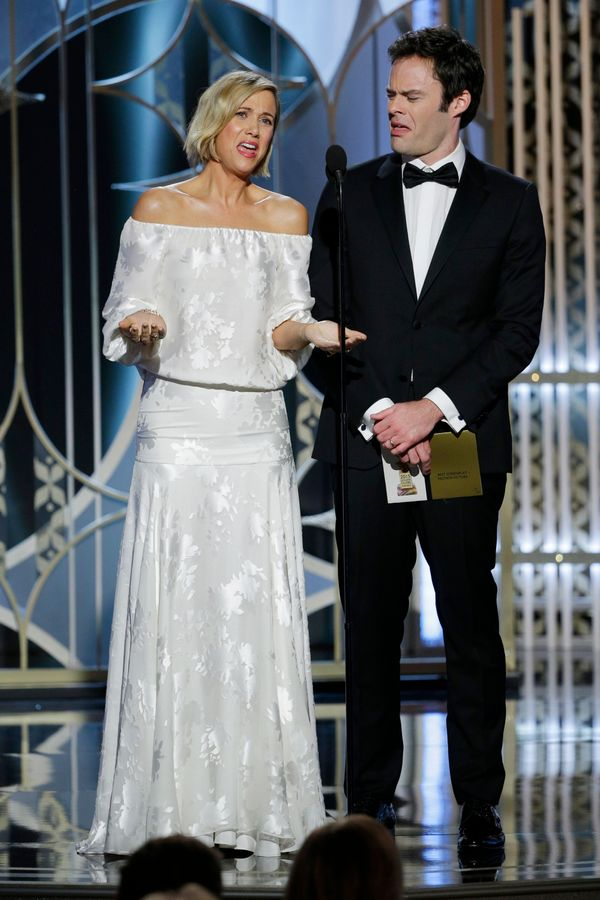 BEVERLY HILLS, CA - JANUARY 11:  In this handout photo provided by NBCUniversal, Presenters Kristen Wiig and Bill Hader speak