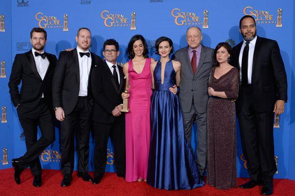 BEVERLY HILLS, CA - JANUARY 11:  72nd ANNUAL GOLDEN GLOBE AWARDS -- Pictured: (l-r) Actors Joshua Jackson, Darren Goldstein,