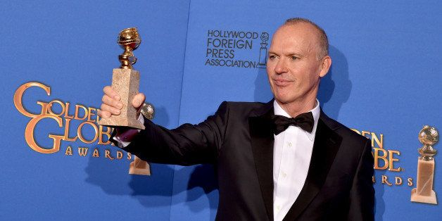 BEVERLY HILLS, CA - JANUARY 11:  Actor Michael Keaton, winner of Best Actor in a Motion Picture - Musical or Comedy for 'Bird