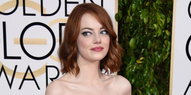 BEVERLY HILLS, CA - JANUARY 11:  Actress Emma Stone attends the 72nd Annual Golden Globe Awards at The Beverly Hilton Hotel o