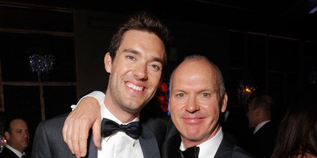 Sean Douglas and Michael Keaton are seen at FOX's 72nd annual Golden Globe Awards Party at the Beverly Hilton Hotel on Sunday