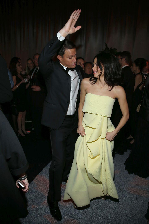 BEVERLY HILLS, CA - JANUARY 11:  Channing Tatum (L) and Jenna Dewan attend The Weinstein Company & Netflix's 2015 Golden Glob