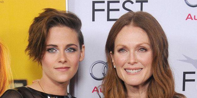 HOLLYWOOD, CA - NOVEMBER 12:  Actors Kristen Stewart and Julianne Moore arrive at the AFI FEST 2014 Presented By Audi - 'Stil